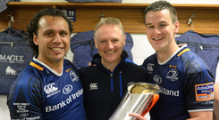 Joe Schmidt with Isa Nacewa and Johnny Sexton after his final game in charge of Leinster