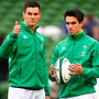 Joey Carbery (r) has gone from Johnny Sexton's understudy to rival for the Irish No 10 shirt. Photo: Sportsfile