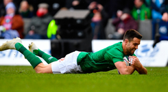 Conor Murray dives over to score Ireland's opening try against Scotland. Photo: Ramsey Cardy/Sportsfile