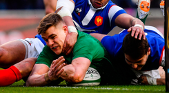 Garry Ringrose loses control of the ball as he slides over the French try line during yesterday's Six Nations clash. Photo: Brendan Moran/Sportsfile
