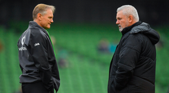 Rivalry reborn: Joe Schmidt and Warren Gatland will be determined not to lose their final Six Nations duel on Saturday. Photo: Sportsfile
