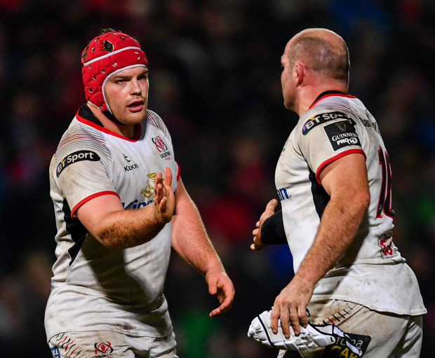 Eric O'Sullivan, left, and Rory Best during the PRO14 clash between Ulster and Munster at the Kingspan Stadium in Belfast. Photo: Ramsey Cardy