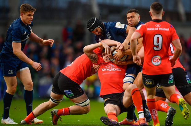 Scott Fardy is tackled. Photo: Sportsfile