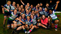 Suttonians celebrate their Division 1 victory. Photo: Sportsfile