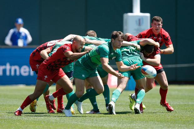 Billy Dardis in action for Ireland sevens against Wales last July