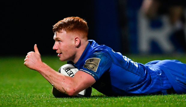 Ciarán Frawley celebrates after scoring Leinster's third try in last night's draw with Benetton at the RDS. Photo: Ramsey Cardy/Sportsfile