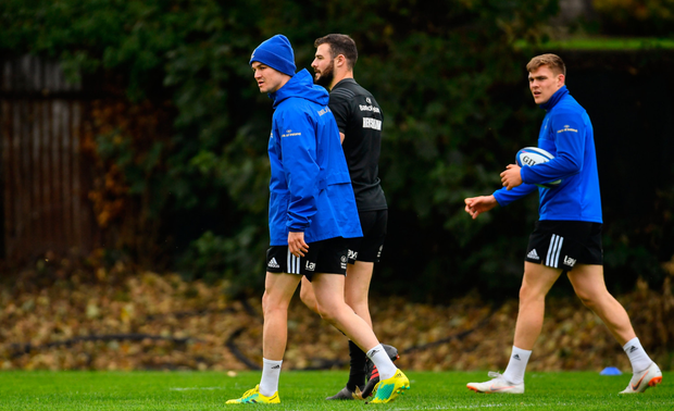 Centre of attention: Johnny Sexton, Robbie Henshaw and Garry Ringrose will be the foundation on which any Leinster success is built. Photo: SPORTSFILE