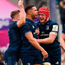Josh van der Flier, pictured celebrating after Adam Byrne scored a try against Toulouse in round 5, will be wary of Cheslin Kolbe's threat. Photo: Sportsfile