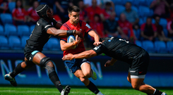 Conor Murray of Munster is tackled by Maro Itoje and Mako Vunipola of Saracens during the Heineken Champions Cup semi-final. Photo: Brendan Moran. Photo: Brendan Moran/Sportsfile