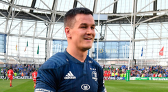 Johnny Sexton was all smiles as he walks around the Lansdowne Road pitch after yesterday's victory over Toulouse. Photo: Getty
