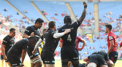 Saracens celebrate a turnover during the Heineken Cup semi-final against Munster. Photo: Sportsfile
