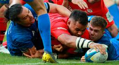 Billy Vunipola touches down to score Saracens' crucial second try in yesterday's Champions Cup final. Photo: David Rogers