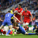 Garry Ringrose puts in a hit on Saracens wing Sean Maitland after Cian Healy makes the initial contact in last year's final