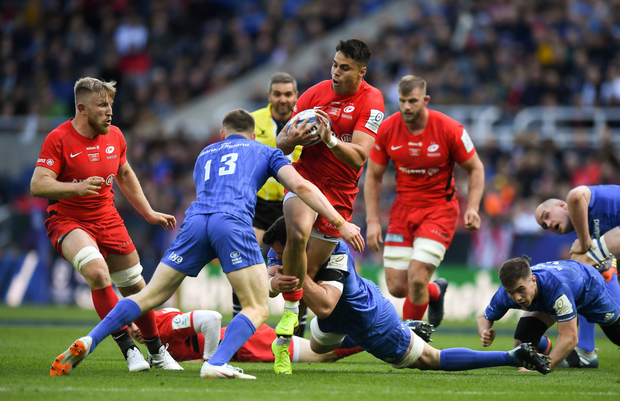 Garry Ringrose puts in a hit on Saracens wing Sean Maitland after Cian Healy makes the initial contact in last Saturday's final. Photo: Sportsfile