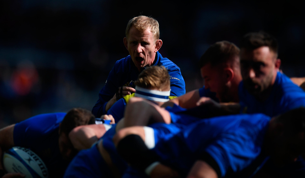 Leo Cullen issues instructions to his charges before the Champions Cup final. Photo: Sportsile