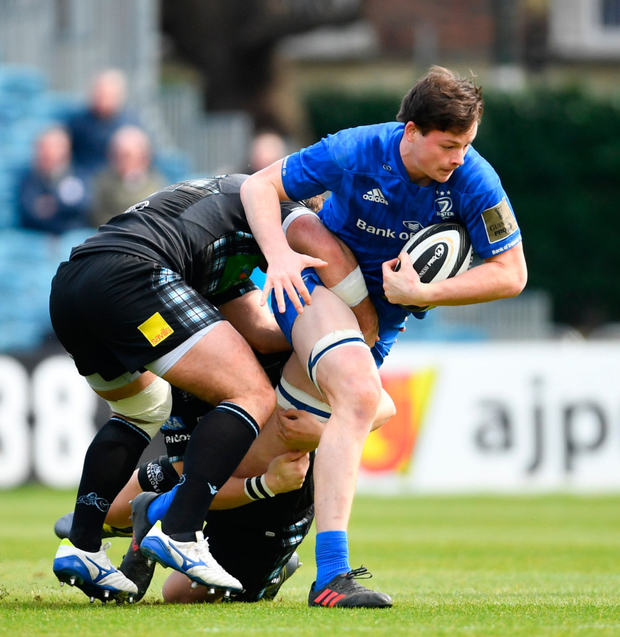 Jack Dunne is tackled against Glasgow Warriors. Photo: Sportsfile