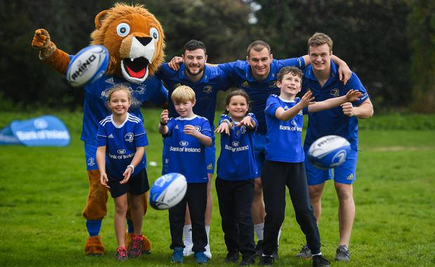 Leinster Rugby Summer Camps and new inclusion camps were launched by Leinster Rugby stars Josh Van Der Flier, Rhys Ruddock, Robbie Henshaw and mascot Leo the Lion