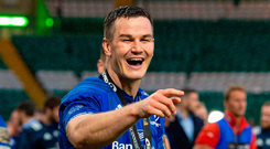Jonathan Sexton celebrates after Leinster's victory over Glasgow Warriors in the PRO14 final at Celtic Park. Photo: Ross Parker/Sportsfile