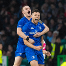 Ross Byrne, right, and Nick McCarthy of Leinster celebrates at full time of the Guinness PRO14 Final match between Leinster and Glasgow Warriors at Celtic Park in Glasgow, Scotland. Photo by Ross Parker