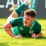 Rob Russell goes over for Ireland's fourth try during yesterday's victory over Italy at the World Rugby U-20 Championship. Photo: Sportsfile