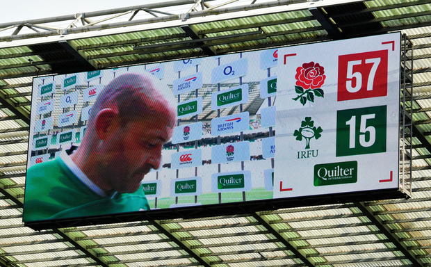 Ireland captain Rory Best after yesterday's defeat to England at Twickenham. Photo: Brendan Moran/Sportsfile