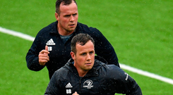 Blues brothers: Bryan (front) and Ed Byrne battling the elements in squad training Seb Daly/Sportsfile