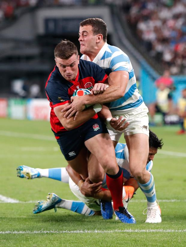 England's George Ford on the way to scoring his side's fourth try against Argentina. Photo: REUTERS/Issei Kato