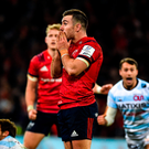 Distraught: Munster fly-half JJ Hanrahan reacts after his late drop-goal attempt against Racing 92 misses the target. Photo: Diarmuid Greene/Sportsfile