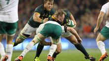 Jannie Du Plessis and Duane Vermeulen on the attack for South Africa