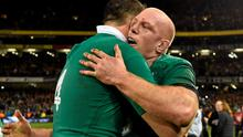 Ireland captain Paul O'Connell and teammate Devon Toner celebrate after the game