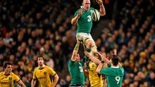 Paul O'Connell rises highest to claim the ball from a lineout