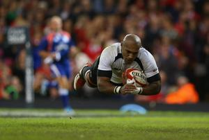 Nemani Nadolo of Fiji dives over to score his sides try during the International match between Wales and Fiji at the Millennium Stadium