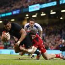 Julian Savea scores for New Zealand against Wales