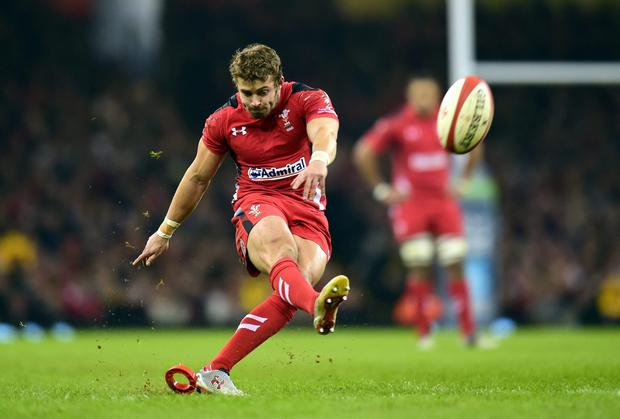 Wales player Leigh Halfpenny lands an early penalty during the Autumn international match between Wales and South Africa