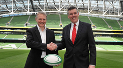 IRFU chief executive Philip Browne introduces Joe Schmidt as Ireland's new head coach back in 2013 and the team's fortunes have mainly been on an upward curve ever since. Photo: Sportsfile