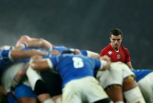 George Ford of England looks on during a scrum during the QBE international match between England and Samoa at Twickenham Stadium