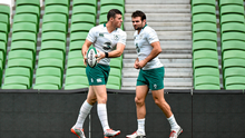Robbie Henshaw and Jared Payne during an open training session ahead of their Guinness Series Autumn Internationals against South Africa, Georgia and Australia