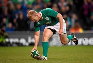 Stuart Olding, Ireland, touches down to score his side's sixth try of the game
