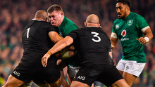 Tadhg Furlong in action against New Zealand but he has warned past glories will count for nothing in the last eight