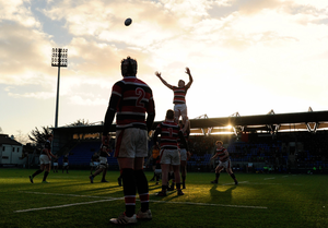 A lineout during the High School and King's Hospital's Vinnie Murray Cup clash in Donnybrook Picture: Sportsfile