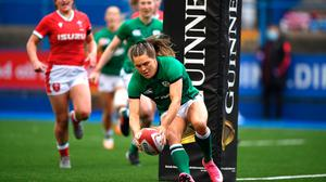 Ireland's Béibhinn Parsons scores a try during her side's comprehensive Six Nations victory over Wales at Cardiff Arms Park last Saturday. Photo: Ben Evans/Sportsfile