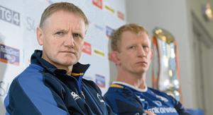 24 May 2013; Leinster head coach Joe Schmidt with captain Leo Cullen during a press conference ahead of their Celtic League Grand Final against Ulster on Saturday. Leinster Rugby Press Conference, RDS, Ballsbridge, Dublin. Picture credit: Matt Browne / SPORTSFILE
