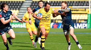 Geoffrey Doumayrou of La Rochelle runs in to score their sixth try during the Quarter Final Champions Cup match win over Sale Sharks (Photo by Lionel Hahn/Getty