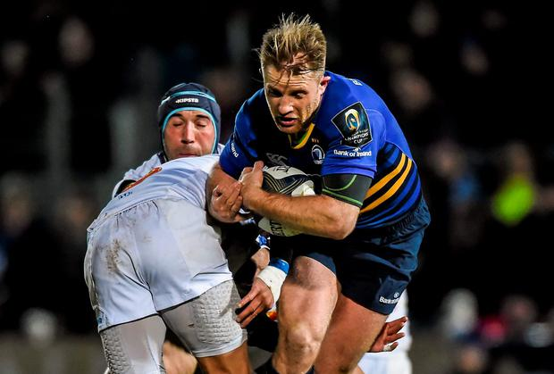 Luke Fitzgerald, Leinster, is tackled by Daniel Kirkpatrick, Castres