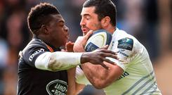 Rob Kearney, Leinster, is tackled by Christian Wade, Wasps