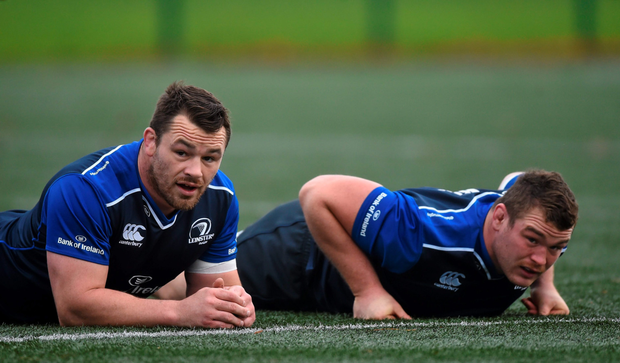 Leinster's Cian Healy along with Jack McGrath at training in UCD.