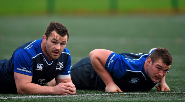 Leinster's Cian Healy along with Jack McGrath at training in UCD