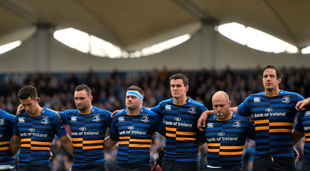 Richardt Strauss alongside Noel Reid, Dave Kearney, Fergus McFadden, Jonathan Sexton and Mike McCarthy ahead of Leinster's Champions Cup opener against Wasps