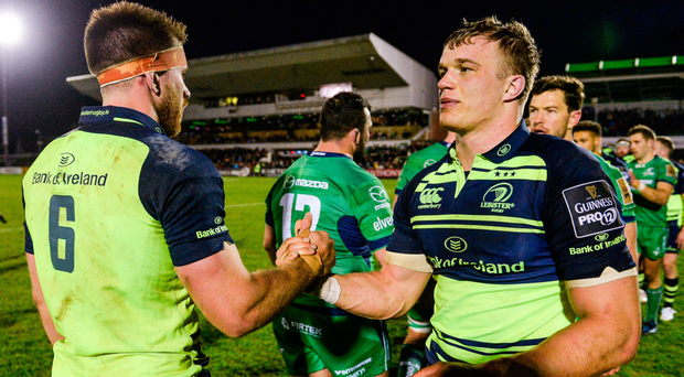 Josh van der Flier and Dominic Ryan after victory over Connacht. Photo: Seb Daly/Sportsfile