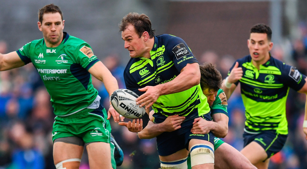 Rhys Ruddock attemps an off-load against Connacht. Photo: SPORTSFILE